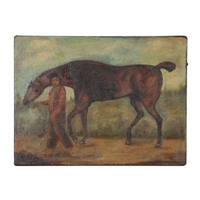 19th Century Oil Painting of a Horse and Groom