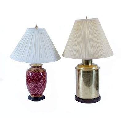 Etched Brass and Hand-Painted Ceramic Table Lamps