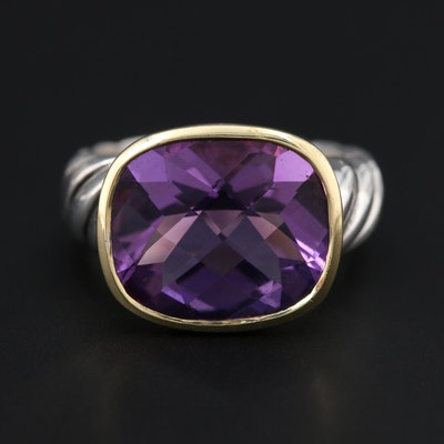 """David Yurman """"Noblesse"""" Sterling Amethyst Ring with 18K Yellow Gold Accent"""