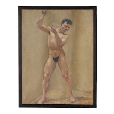Standing Nude Figure Oil Painting