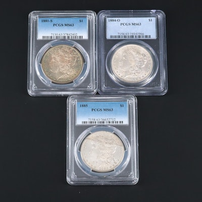 Three PCGS Graded MS63 Silver Morgan Dollars Featuring an 1881-S