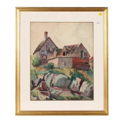 Roderick Mead Watercolor Painting of Landscape with Houses, 1928