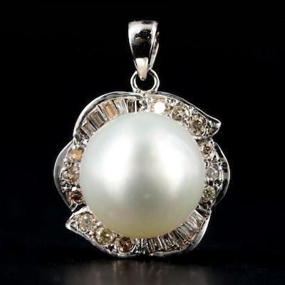10K White Gold Cultured Pearl and Diamond Pendant