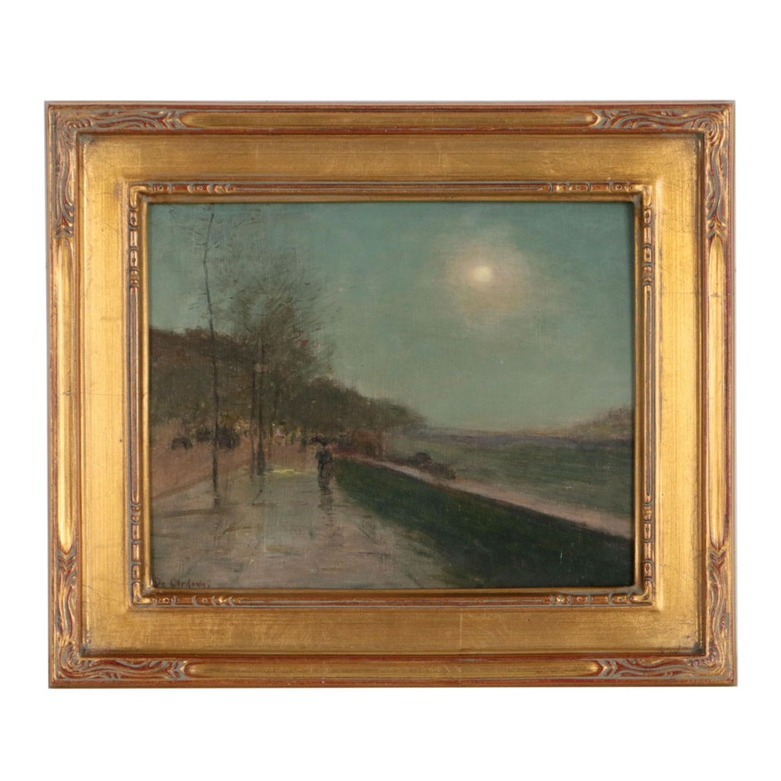 Nocturne Street Scene Oil Painting