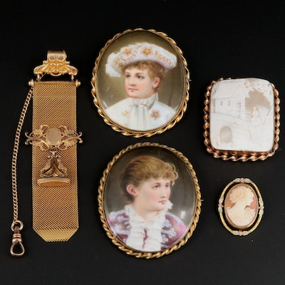 Vintage Stage Actors Cameo and Portrait Brooches and Watch Fob
