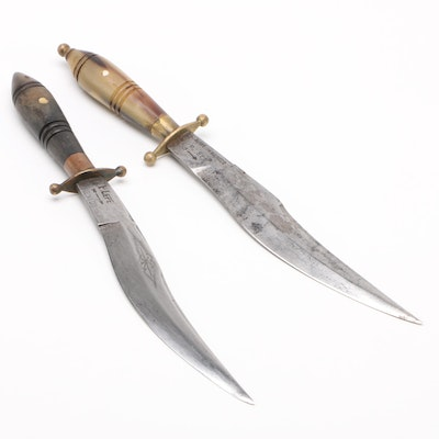 "Pair Mexican ""P. Lepe"" Combat Bowie Knives, Early 20th Century"