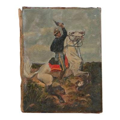 Spanish-American War Oil Painting, Late 19th Century