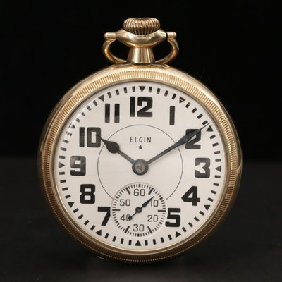 Vintage Elgin Railroad Grade Gold Filled Pocket Watch, 1941
