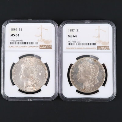 Two NGC Graded MS64 Silver Morgan Dollars Including an 1886 and 1887