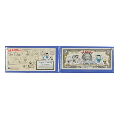 "Merrick Mint ""Peanuts"" Commemorative Two Dollar Bill ""Then & Now"""