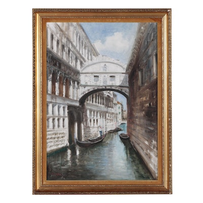 Oil Painting of Venice's Bridge of Sighs, Late 20th Century