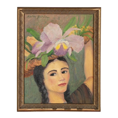 Xavier J. Barile Oil Portrait of Woman with Flowers, Late 20th Century
