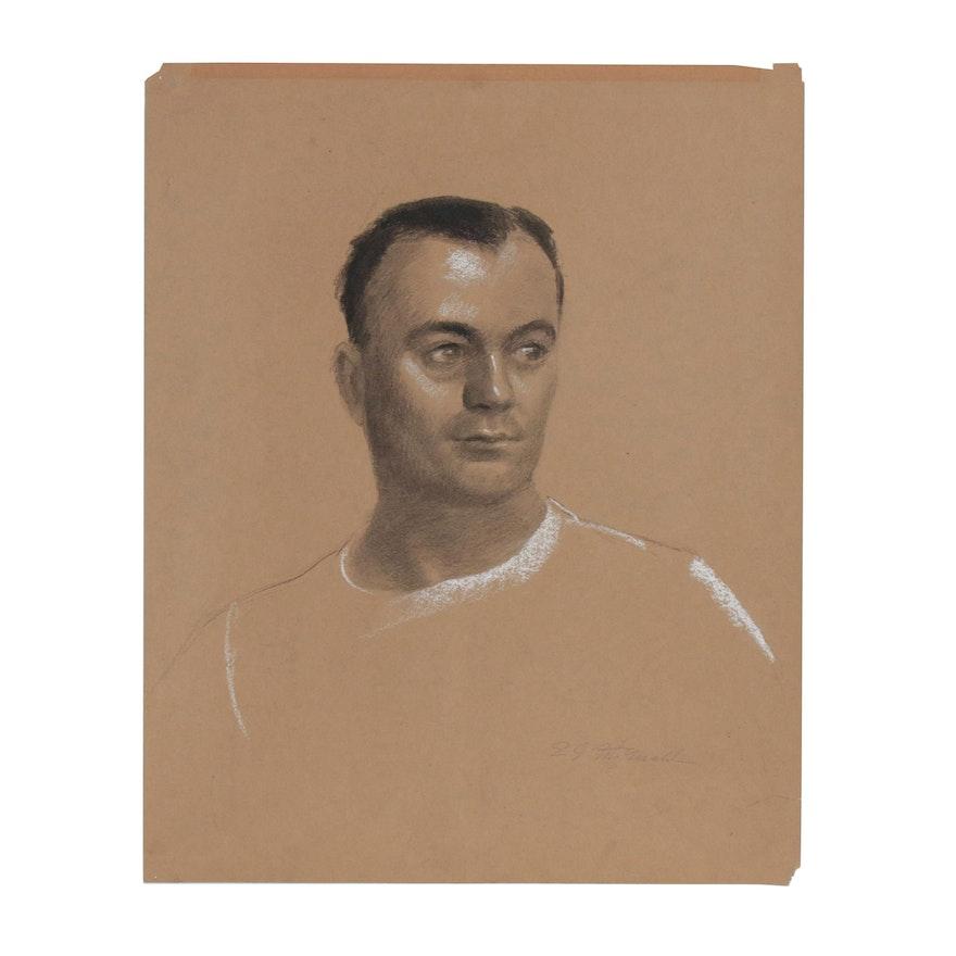 Edmond J. Fitzgerald Portrait Charcoal Drawing