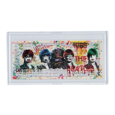 """Rency Giclée on Two Dollar Bill """"Kiss the Beatles"""""""