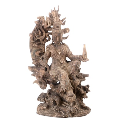 Chinese Guanyin Carved Wooden Sculpture, 20th Century