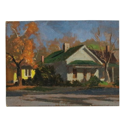 Edmond J. Fitzgerald Oil Painting of Houses