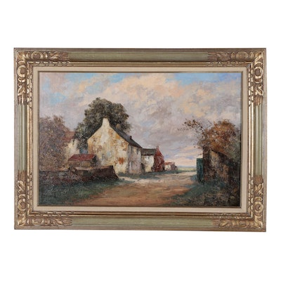 Therese Clement Landscape Oil Painting of Rural Village