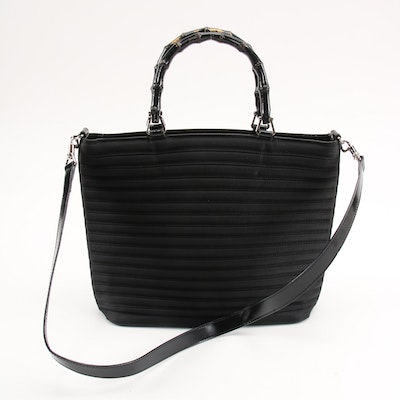 Gucci Black Ribbed Canvas and Glazed Leather Bamboo Top Handle Convertible Bag