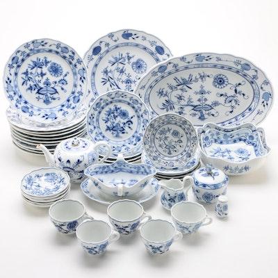 "Carl Teichert Meissen ""Blue Onion"" Porcelain Dinnerware and Serving Pieces"