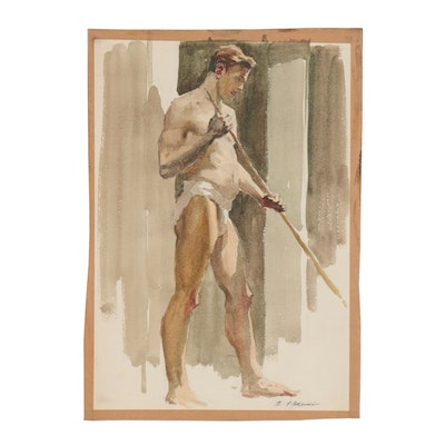 Edmond J. Fitzgerald Figural Watercolor Painting