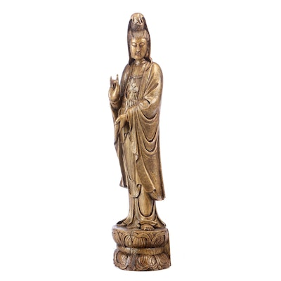 Chinese Guanyin Wooden Sculpture, 20th Century