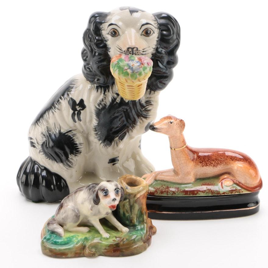 Staffordshire Style Porcelain Dog Figurine, Box, and Pen Holder