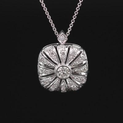 14K White Gold Diamond Pendant on 18K White Gold Rolo Chain