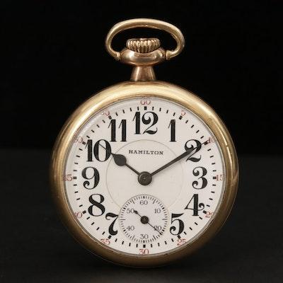 Antique Hamilton Gold Filled Railroad Grade Pocket Watch, Circa 1920
