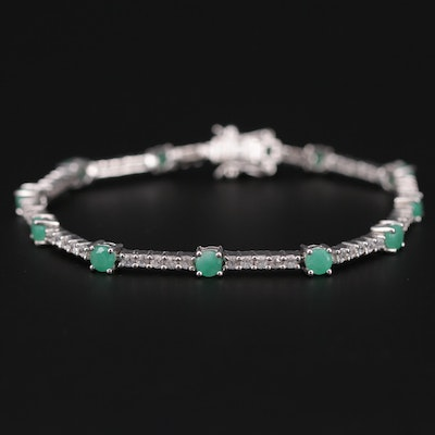 Sterling Silver Emerald and Topaz Bracelet