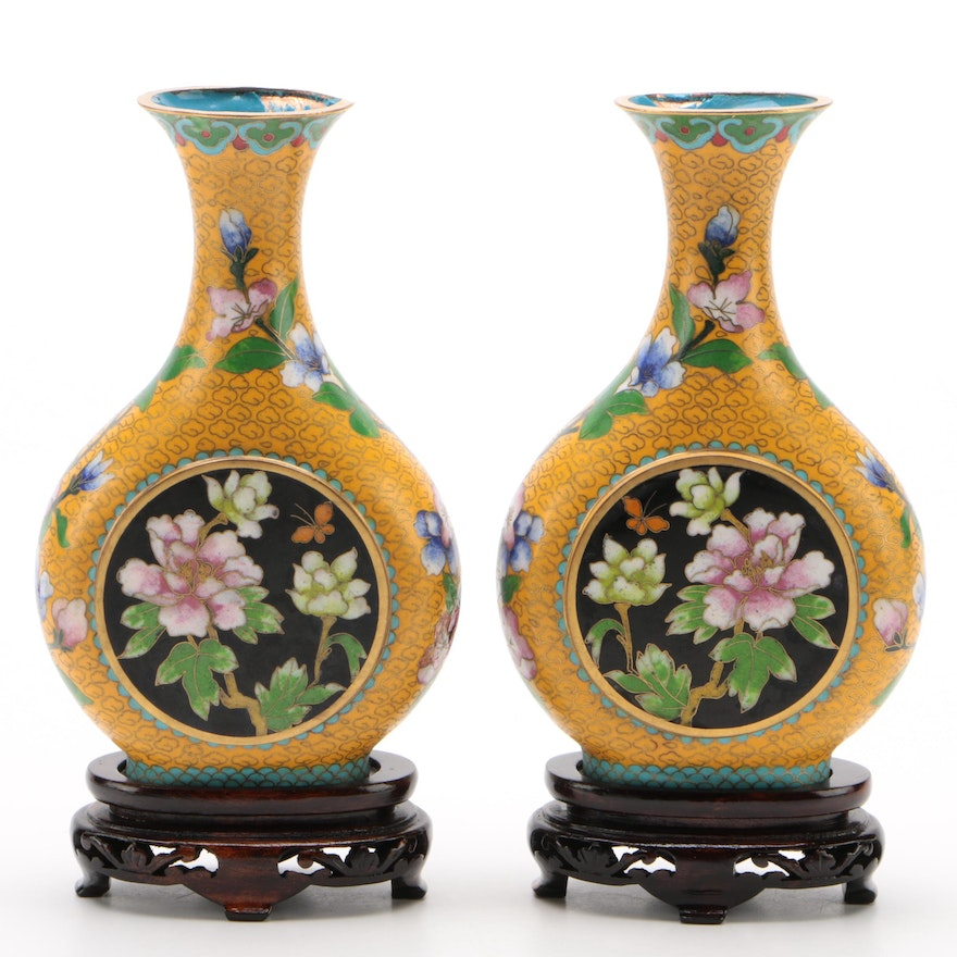 Pair of Chinese Cloisonné Enamel Flat Vases with Wood Stands,