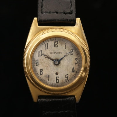 John Harwood Gold Tone Bezel Set Automatic Wristwatch, Circa 1926