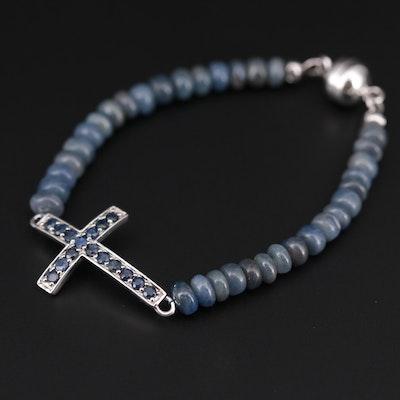 Sterling Silver Sapphire Cross Bracelet