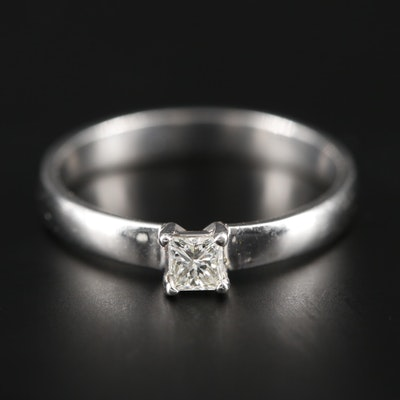 14K White Gold 0.16 CT Diamond Solitaire Ring