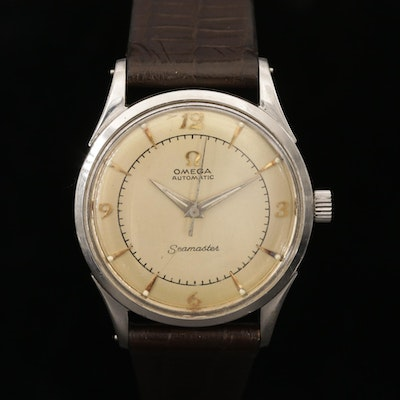 Vintage Omega Stainless Steel Seamaster Bumper Automatic Wristwatch