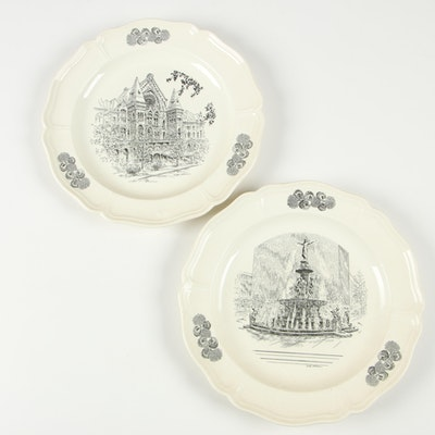 Wedgwood Earthenware Cincinnati Collector Plates by Caroline Williams, 1970s
