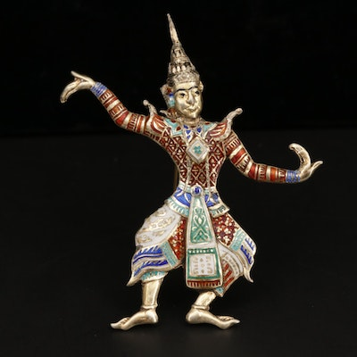 Thai Sterling Silver Enamel Dancing Figure Brooch