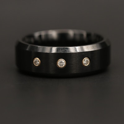 Ceramic Diamond Ring with 14K Yellow Gold Accents