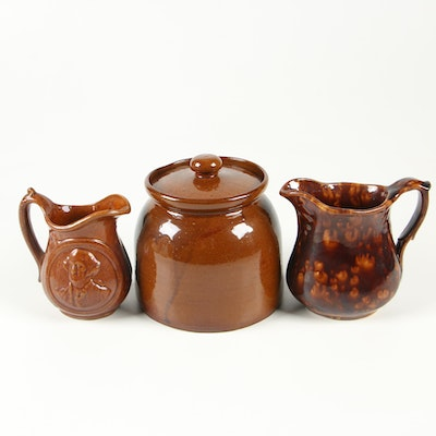 American Rockingham Brown Earthenware Crock and Pitchers