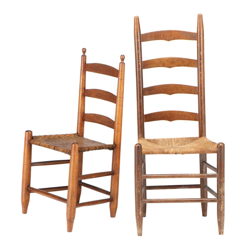 Two American Ladderback Side Chairs, 19th/20th Century