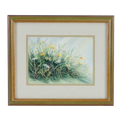 Jennifer Boget Watercolor Painting of Wild Daisies
