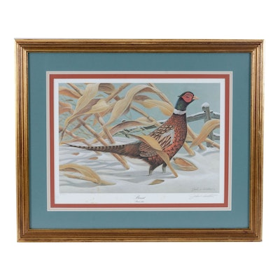 "John Ruthven Offset Lithograph ""Pheasant"", Late 20th Century"