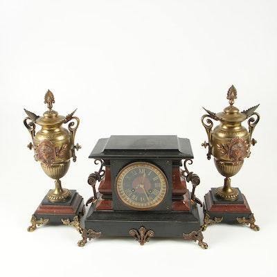 Antique Marble and Polished Stone Mantel Clock Garniture Set
