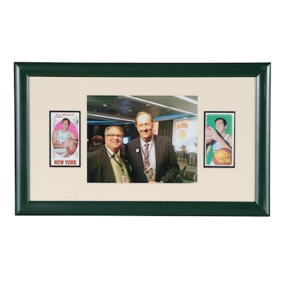 Framed Bill Bradley Photo Print with Vintage Cards Display