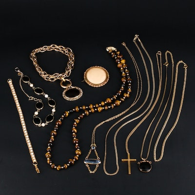 Vintage and Victorian Jewelry Assortment Including Necklaces, Bracelets and More