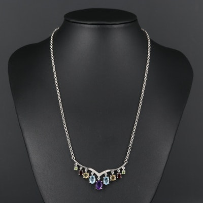 Sterling Silver Multi-Gemstone and Diamond Necklace