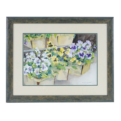 D. Nordlah Watercolor Painting of Pansies