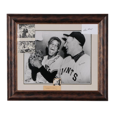 Framed Willie Mays and Leo Durocher Signed Photo Print with a Loraine Day Auto