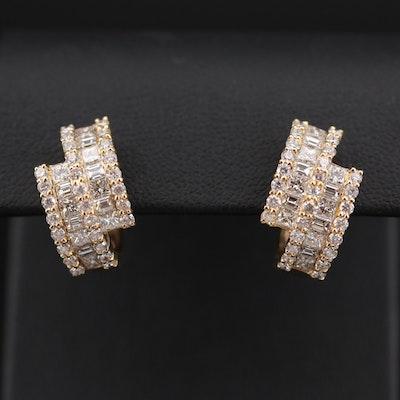 18K Yellow Gold 2.82 CTW Diamond Hoop Earrings