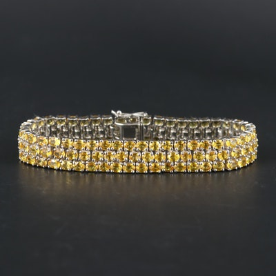 Sterling Silver Yellow Sapphire Bracelet