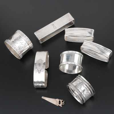 Sterling Silver Napkin Rings Including Webster, Newburyport Silver, and Others